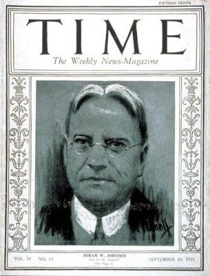 Hiram Johnson on cover of Time - wikipedia