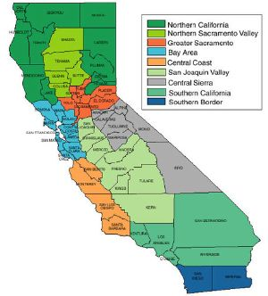 California - regions - map