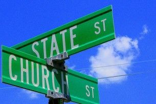 Church and state street sign