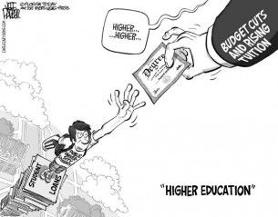 Higher education cagle cartoon, used May 21, 2012