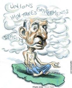cagle cartoon, jerry brown fog, teachers unions, Oct. 22, 2012