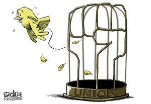 union right to work michigan - cagle cartoon