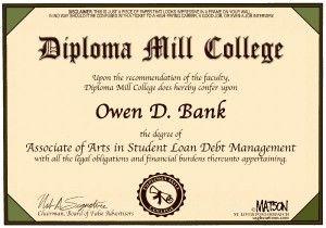 student loan diploma mill, cagle, Feb. 4, 2013