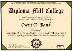 student loan diploma mill, cagle, Feb. 4, 2013