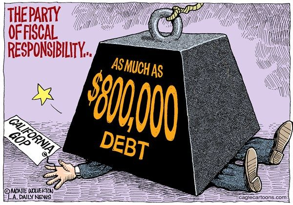 California Republican Party debt, Cagle, March 2, 2013