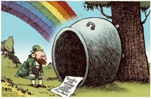 St. Patrick's Day fair share, cagle cartoon, March 15, 2013