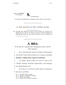Immigration bill 2013, first page