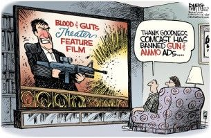 Comcast, gun and ammo ads, Cagle, Aug. 29, 2013