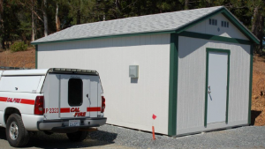 Cal Fire truck and shed, from state audit report