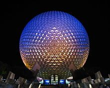 220px-Spaceship_Earth_at_night