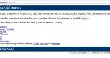 Shutdown blacks out U.S. Census site
