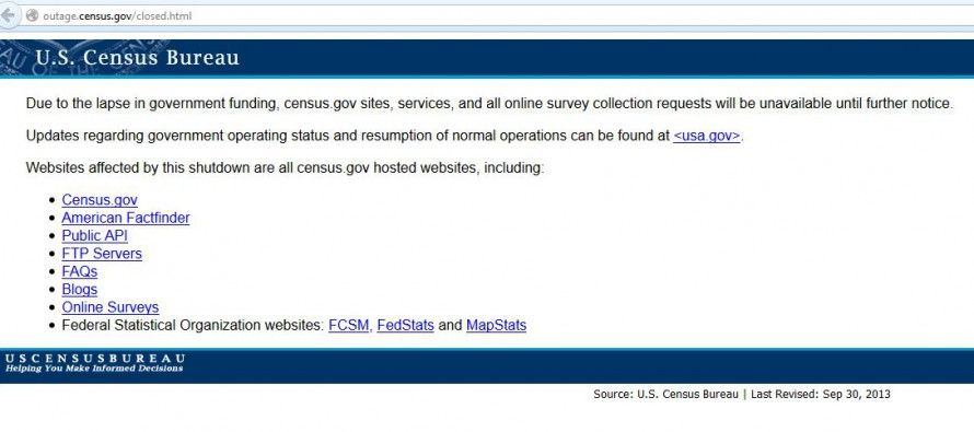 Shutdown blacks out U.S. Census site