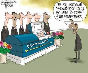 Obamacare pallbearers, Gary McCoy, cagle, Oct. 1, 2013