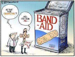 obamacare bandaid, weyant, cagle, Dec. 13, 2013