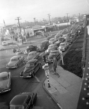Los Angeles traffic jam 1953, wikimedia