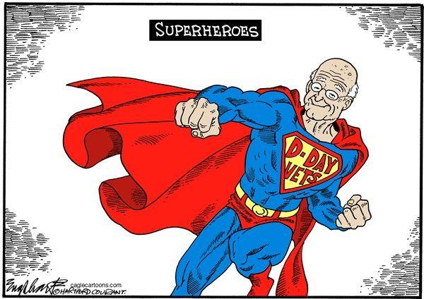 DDay superheroes, englehart, Cagle, June 6, 2014