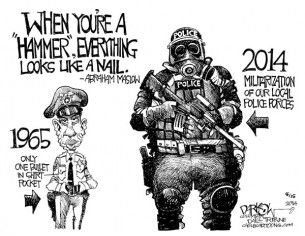 militarization of police, John Darkow, Cagle, Aug. 18, 2014