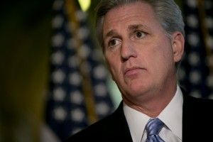 Majority Whip Kevin McCarthy, a Republican from California, speaks during a news conference at the U.S. Capitol in Washington, D.C., U.S., on Monday, Feb. 25, 2013. U.S. lawmakers have four days to avoid the start of across-the-board government spending cuts, known as sequestration. So far, there is little indication that President Barack Obama and congressional Republicans will reach an agreement this week. Photographer: Andrew Harrer/Bloomberg via Getty Images