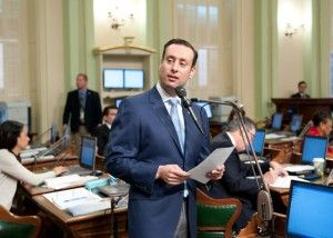 Asm. Roger Hernández speaks on the Assembly floor in 2016. Photo courtesy of member's office.