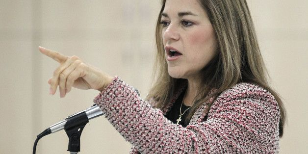 Rep. Loretta Sanchez, D-Calif., speaks during a campaign event at the O.C. Labor Federation's headquarters in Orange, Calif., Saturday, Oct. 9, 2010. (AP Photo/Chris Carlson)