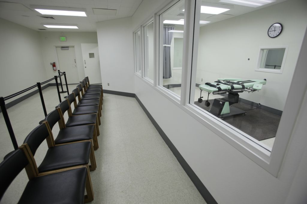 the new lethal injection facility at San Quentin State Prison in San Quentin, Tuesday, Sept. 21, 2010. While court righting continues over resumption of California's death penalty, state prison officials conduct a media tour of their refurbished death chamber designed to meet legal requirements. The new facility cost $853,000 and the work was performed by the inmate ward labor program. (AP Photo/Eric Risberg)